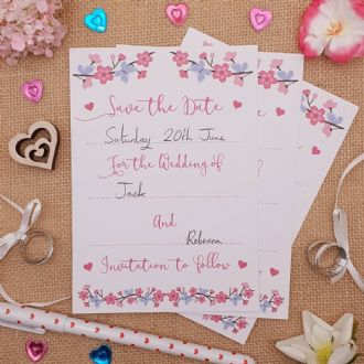 Save the Date Wedding Invitations & Envelopes - 1 Pack of 8 - Summer Blossom Collection